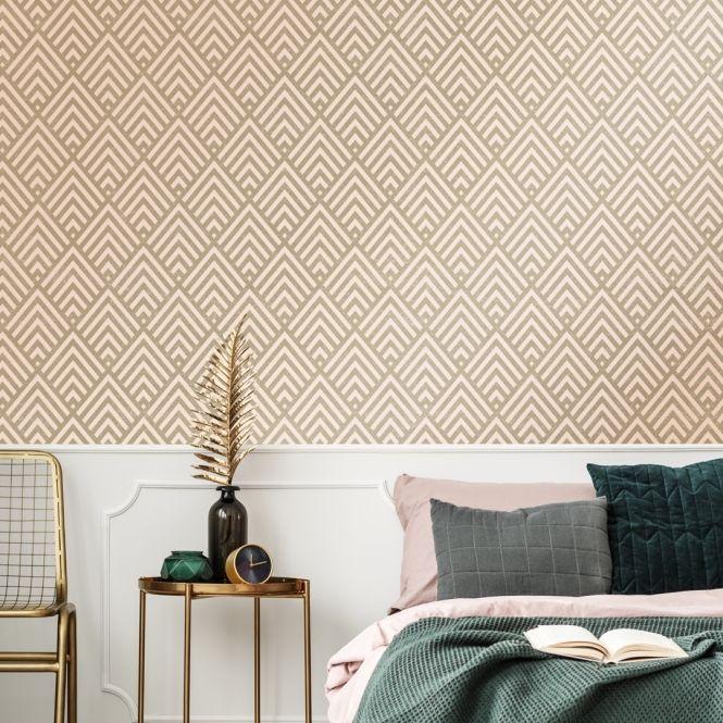 Shard Glitter Geometric Wallpaper Blush Gold 36822 3 Geometric Wallpaper Room Design Wallpaper