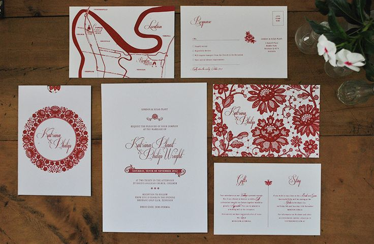 Katrina and Philip screenprinted custom designed wedding stationery with blind letterpress detail.