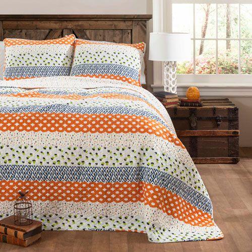 Franny Orange Three-Piece Full/Queen Quilt Set