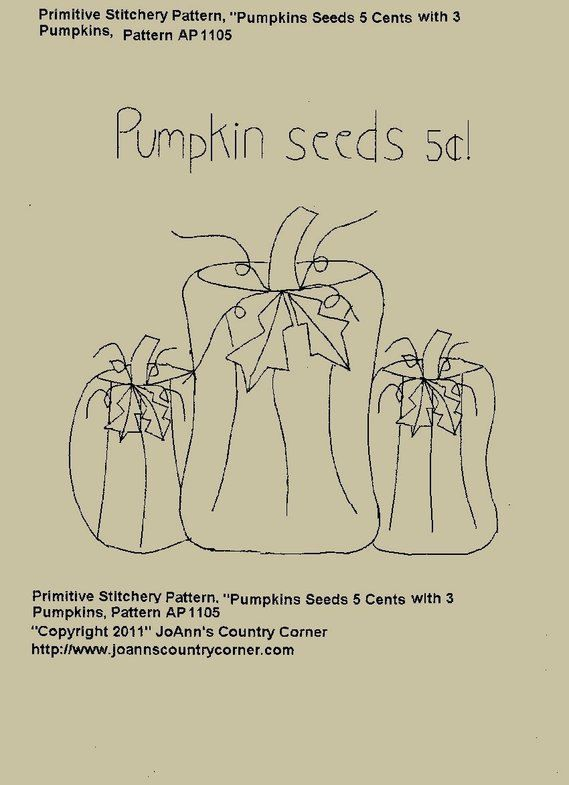 Free Printable Primitive Stitchery Patterns | Primitive Stitchery EPattern Pumpkin Seeds 5 by JoAnnCountryCorner