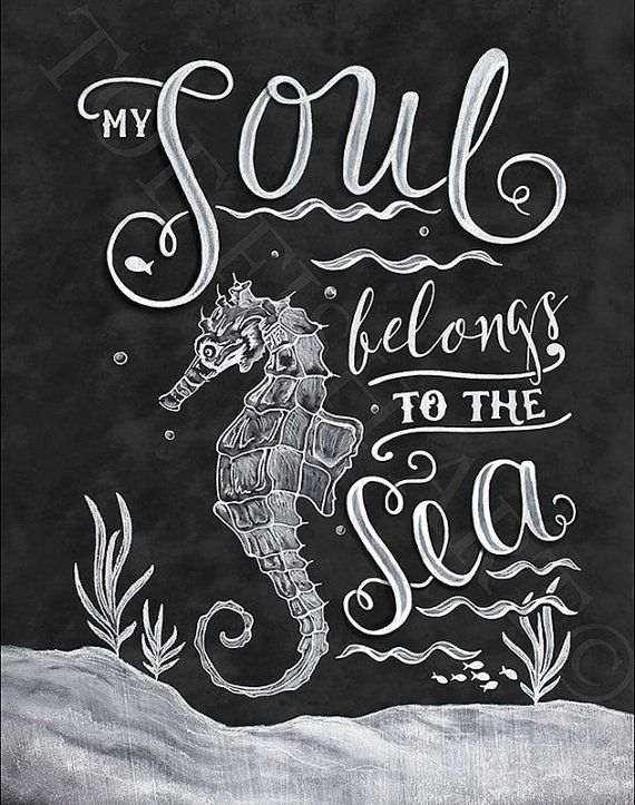 My Soul Belongs to the Sea Beach Art Wooden Chalk por ToeFishArt