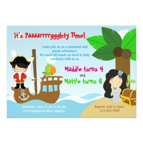 249 best pirate birthday party invitations images on pinterest pirate birthday invitations mermaid and pirate twins joint birthday party card filmwisefo Image collections