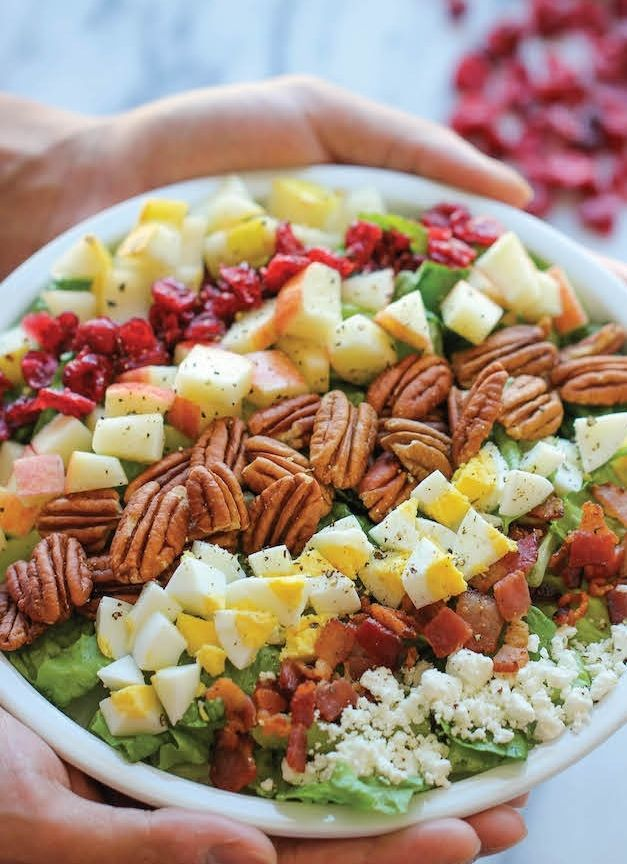 The presentation of this delicious harvest cobb salad is so pretty.
