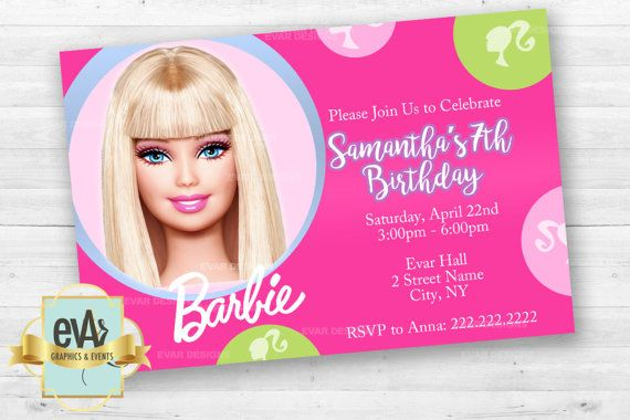 Barbie Invitation, Barbie Silhouette Invitation, Barbie Themed Party, Barbie Party Supplies