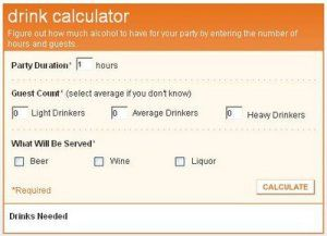 Evite Drink Calculator