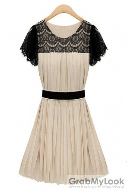 GrabMyLook Crochet Lace Skater Pleated Chiffon Dress Skirt With Belt