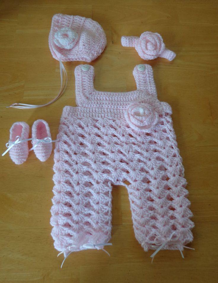 Newborn Baby Girl Overalls Set Bonnet Headband Booties Crochet Pink Photo Prop $29.99