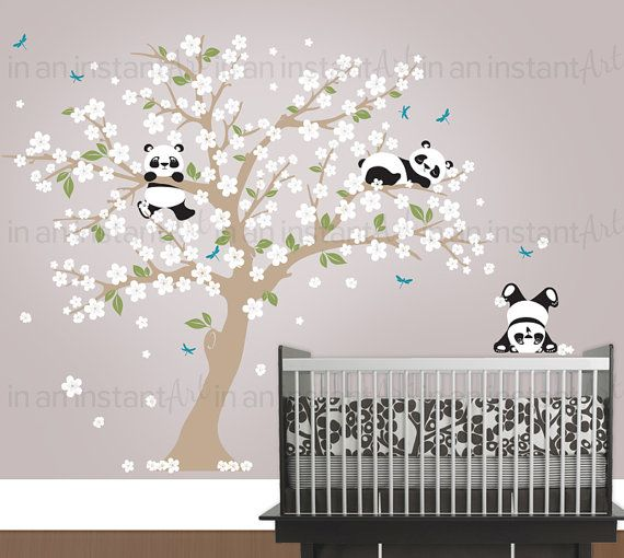 Cherry Blossom Wall Decal Playful Pandas in por InAnInstantArt