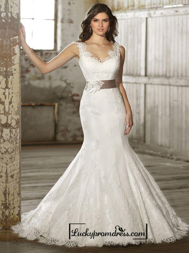 Straps V-neck Trumpet Lace Wedding Dresses with Deep V-back