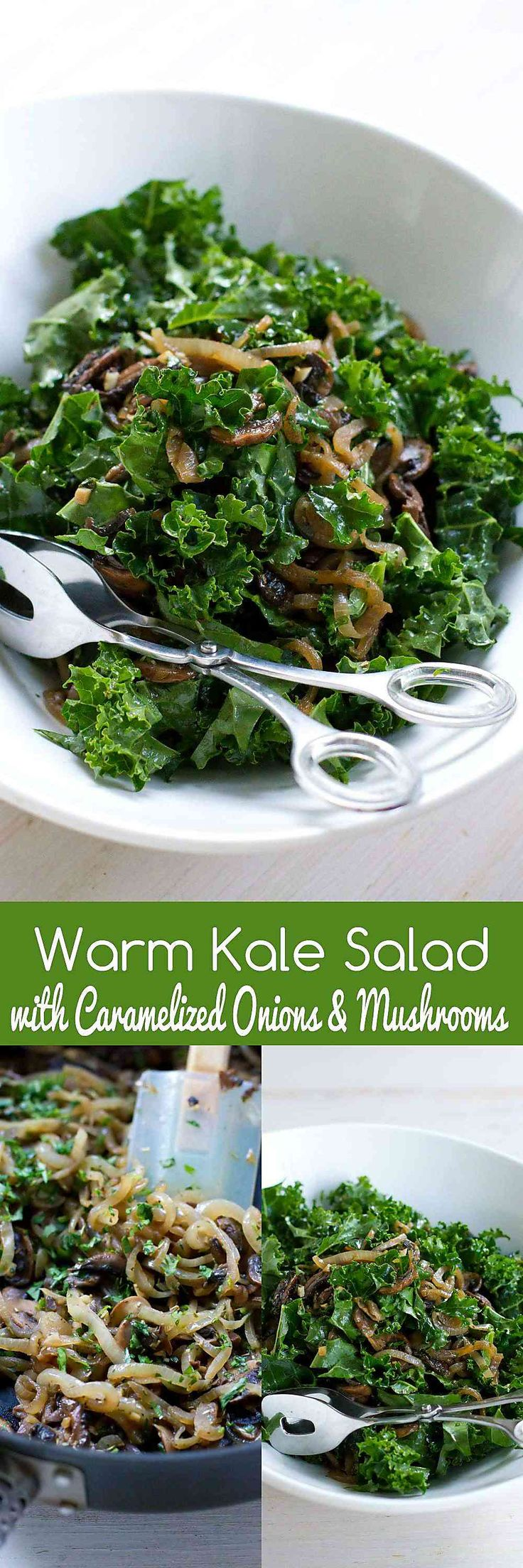 Warm Kale Salad with Caramelized Onions and Mushrooms…Serve this up as a healthy side dish or double up for an entrée serving. 102 calories and 2 Weight Watchers SmartPoints