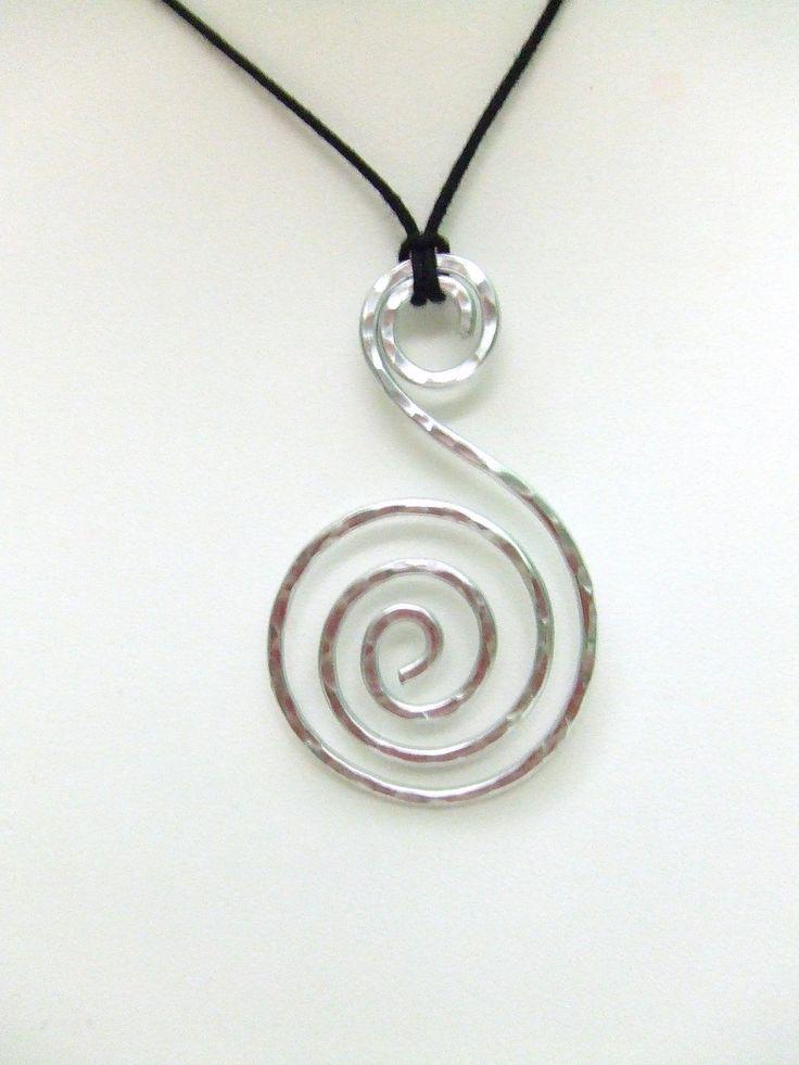 Spiral Pendant Aluminum Pendant Wire Wrap Pendant Hammered Metal Pendant Jewelry Gifts Under 20 Artisan Handmade. $14.95, via Etsy.