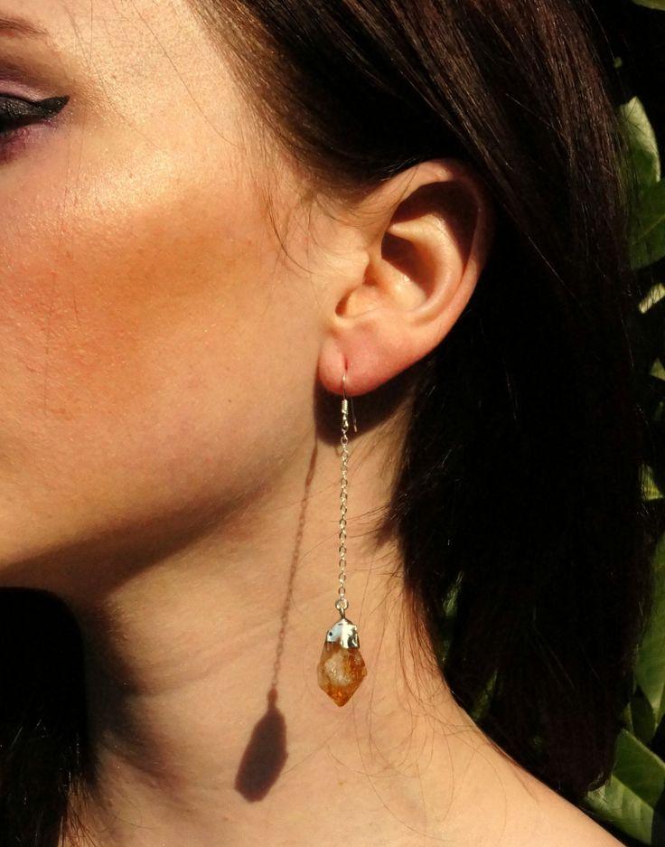 Citrine Earrings // Raw Citrine // Earrings by TheRockStarGoddess