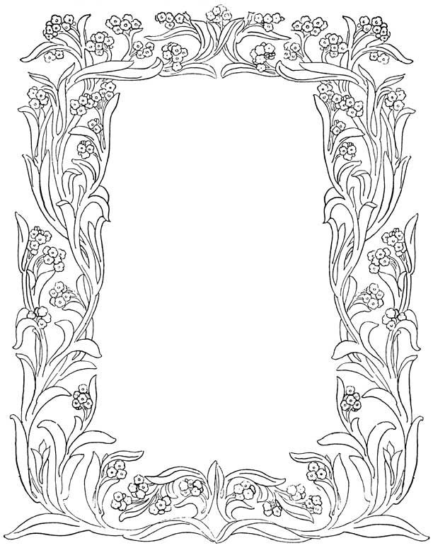 These Nine Pretty Flower Borders In Black And White Are From An Old College Annual Dated You Can Print Out Color Them