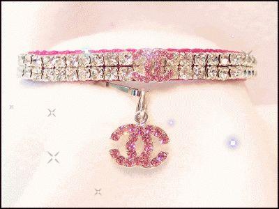 Pink Chanel designer dog collar