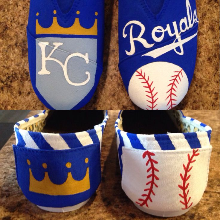Kansas City royals baseball painted shoes