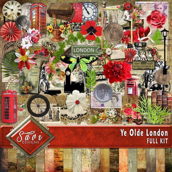 Digital Scrapbooking Kit YE OLDE LONDON travel by SaviByDesign