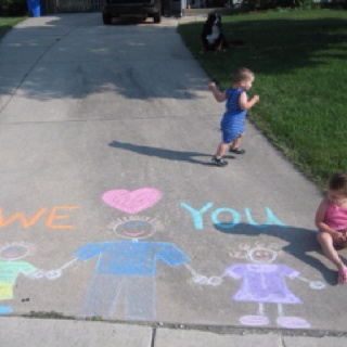 Father's day idea- leave a note on the driveway for Dad for when he got home from work.