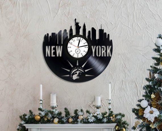 Xmas Gift New York City Lp Retro Vinyl Record Wall Clock Modern American Flag Travel Vintage USA Birthday Year Idea