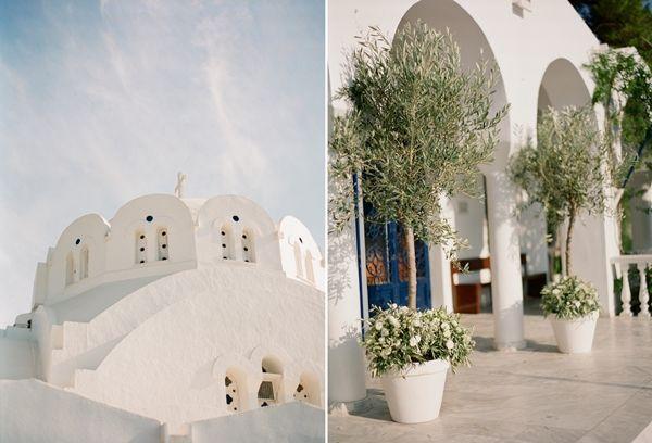 Olive branch church decorations   Classic Greek wedding