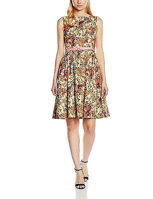 24, Beige, Lindy Bop Women's Audrey Beige Floral Dress NEW