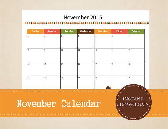 Printable November 2015 Calendar  Seasonal by MBucherConsulting
