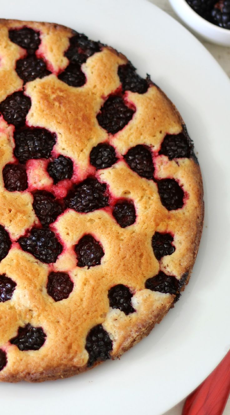 Blackberry Cake - A light, buttery, sweet, low calorie cake made with fresh, sweet juicy blackberries.