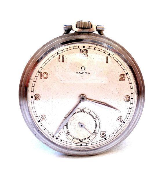 Antiguo Reloj De Bolsillo Suizo OMEGA Open Face por shopvintage1