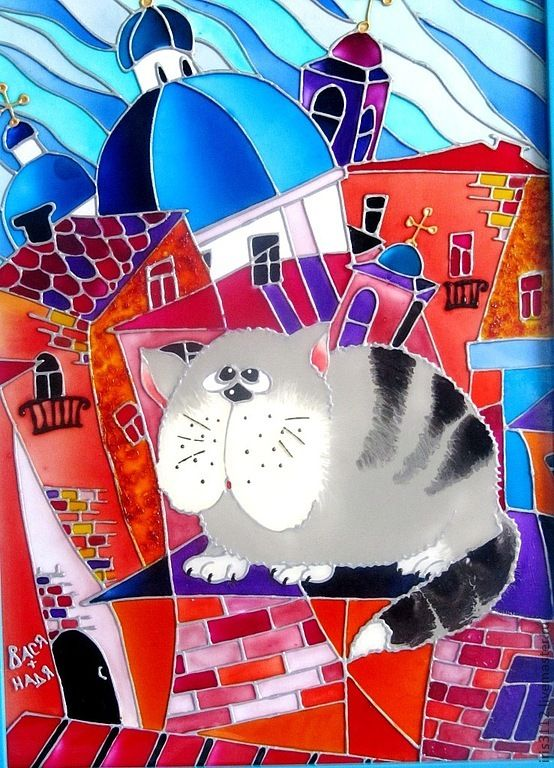 """""""Коты на Питерских крышах"""" Витражная роспись стекла - коты,кот,коты и кошки"""