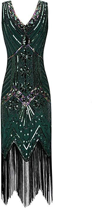 b9391344a69d Metme Women s 1920s V Neck Beaded Fringed Gatsby Theme Flapper Dress for  Prom at Amazon Women s Clothing store