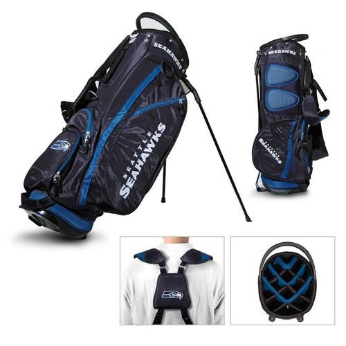 Seattle Seahawks Golf Bag. This new lightweight stand bag is full of features. The Seahawks golf bag includes integrated top handle, 14-way full length dividers, 6 location embroidery logos, 5 zippere