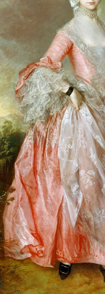 Five strands of pearls about neck, transparent gauze fichu with embroidered edge covering decolletage, pretty pink silk gown, bow at elbow l...