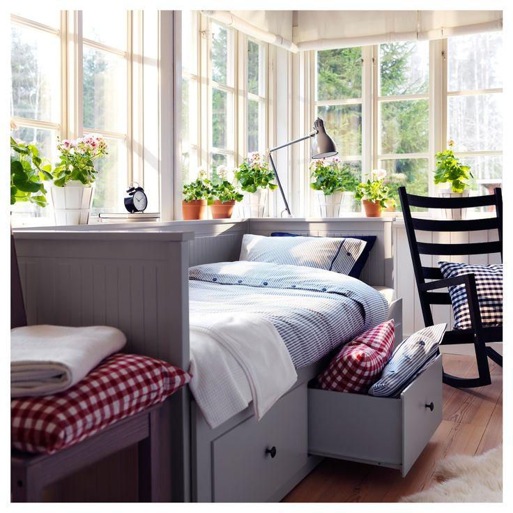 HEMNES Dagseng med 3 skuffer / 2 madrasser - grå, Moshult firma