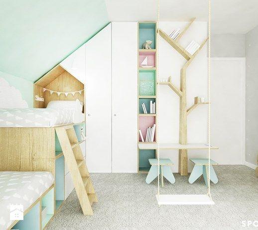Aranżacje wnętrz - Pokój dziecka: Sypialnia dziewczynek - SPOIWO studio. Przeglądaj, dodawaj i zapisuj najlepsze zdjęcia, pomysły i inspiracje designerskie. W bazie mamy już prawie milion fotografii!