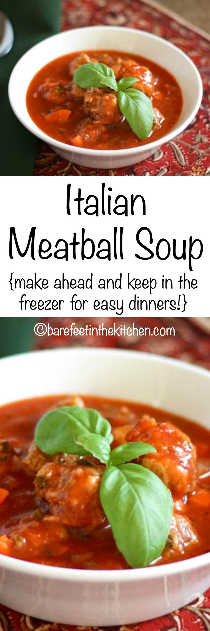 Italian Herb Meatball Soup is perfect for lunch or dinner. Make a double batch now and stash some away in the freezer! Get the recipe at barefeetinthekitchen.com