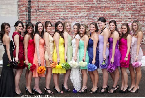 Rainbow bridesmaids :) I AM SO DOING THIS!!! (but not so many)