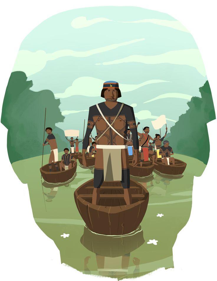 Keradó (7) Concept art #río #river #indígena #native #canoa #canoe #ilustración #illustration #concept art #artwork
