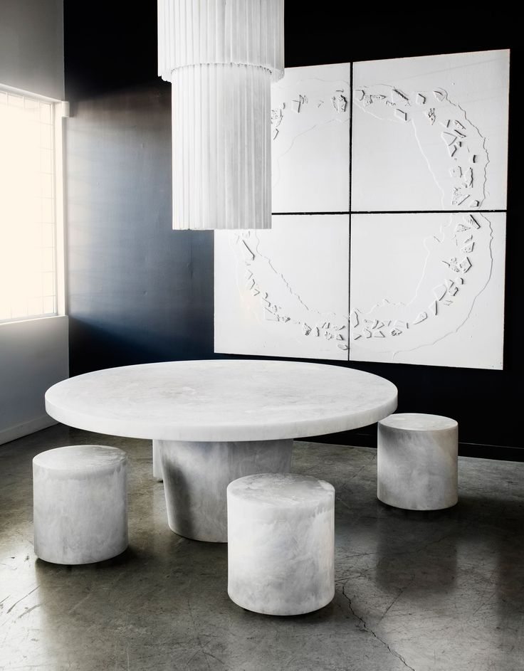 White table stools and Art by Martha Sturdy | http://www.yellowtrace.com.au/maison-et-objet-2016/