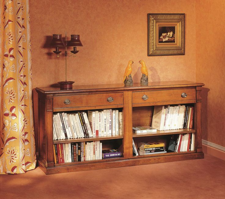 meuble d 39 appui en bois massif de style directoire avec 2 tiroirs 1 s paration et 2 tag res. Black Bedroom Furniture Sets. Home Design Ideas