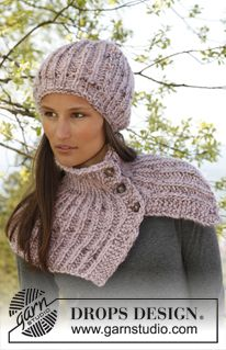 "Knitted DROPS hat and neck warmer in English rib with buttons in ""Eskimo"". ~ DROPS Design"