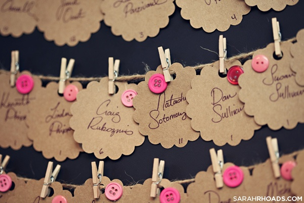 button + kraft paper placecards
