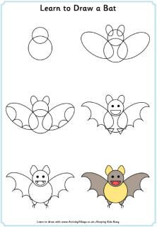 Learn to draw a bat, Halloween learn to draw tutorials from ActivityVillage.co.uk