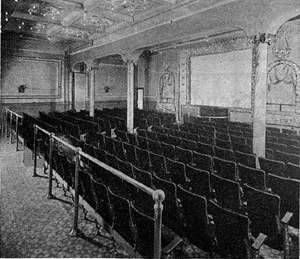 NICKELODEON: Interior of a nickelodeon theater in Pittsburgh. It was claimed to be the first nickelodeon in the United States. The Moving Picture World, November 30, 1907 | Pittsburgh PA