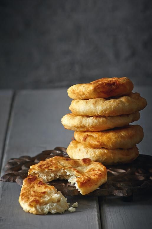 Greek fried bread dough with feta cheese (tiganopsomo)