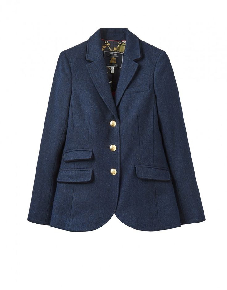 Joules Women's Peyton Long Line Tweed Jacket - Navy Tweed X_PEYTON