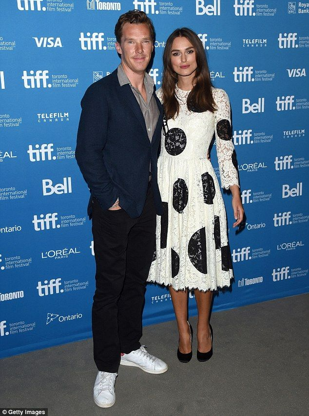 Benedict Cumberbatch and Keira Knightley (in Dolce & Gabbana dress) - At 'The Imitation Game' press conference at Toronto International Film Festival.  (September 2014)