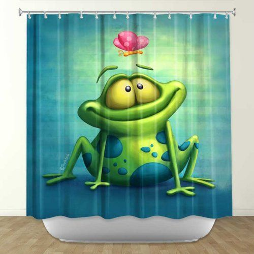 Shower Curtain from DiaNoche Designs by Artist Toosh Toosh Home Décor and Bathroom Ideas - The Frog II by DiaNoche Designs, http://www.amazon.com/dp/B00E3O33G2/ref=cm_sw_r_pi_dp_h0Ynsb15V1YHY