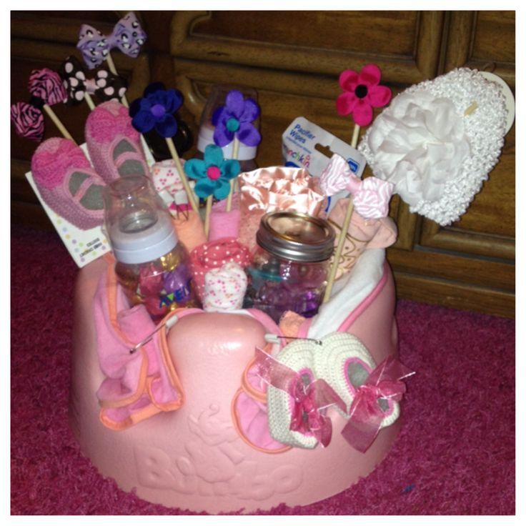 Baby Gift Jars : Baby shower gift bows booties onesies mason jar full