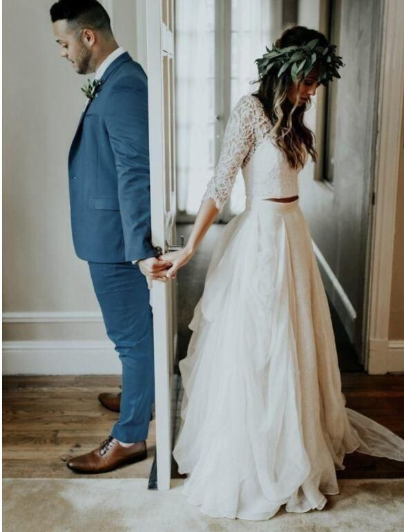 Online Shopping For Two Piece Vintage Bridal Dresses With Half Sleeves Lace Button Back Find Out Bridal Dresses Vintage Buy Wedding Dress Wedding Dresses Lace