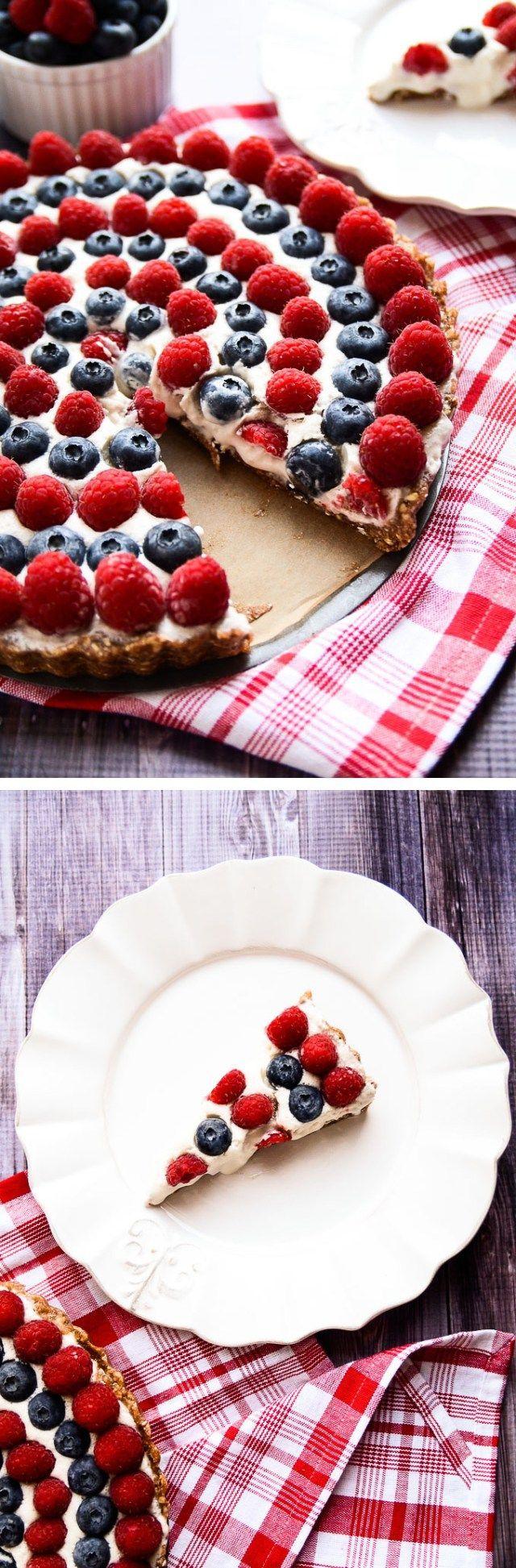 Festive Vegan Raspberry and Blueberry Tart