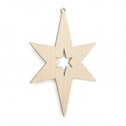 Wooden Star Craft Shapes Christmas Decorations